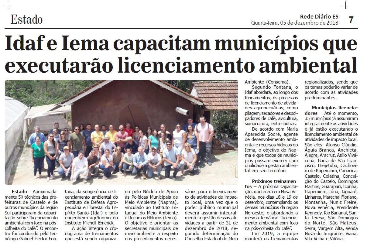 ce0b66c671 Diário do Noroeste - Idaf e Iema capacitam municípios que executarão  licenciamento ambiental (05 12)